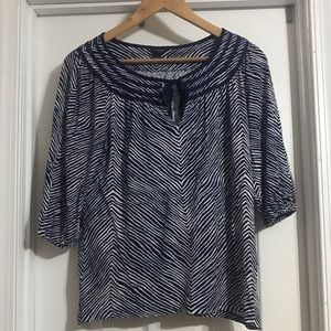Ann Taylor Navy & White Short Sleeve Top -